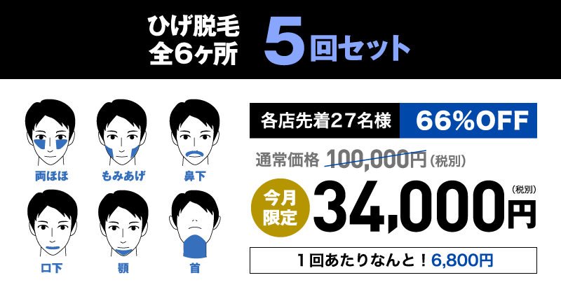 ひげ脱毛全6ヶ所 5回セット